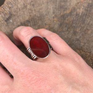 Vintage ox blood ring converts to bracelet